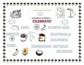 Hispanic Heritage Coloring Page Grades K 4 Esl Tpt