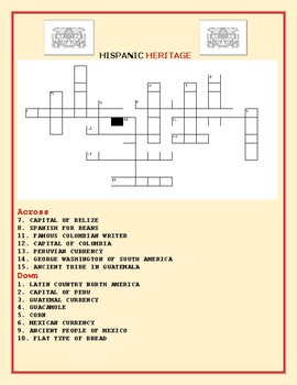 HISPANIC HERITAGE CROSSWORD PUZZLE
