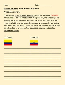 HISPANIC HERITAGE: GEOGRAPHY PROJECT/COLOMBIA & ECUADOR