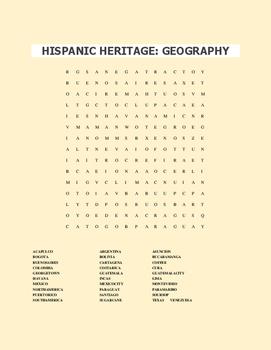 HISPANIC HERITAGE GEOGRAPHY WORD SEARCH