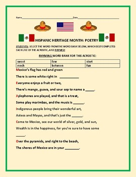 HISPANIC HERITAGE MONTH: A RHYMING ACROSTIC ACTIVITY K-4, ESL