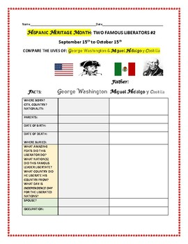HISPANIC HERITAGE MONTH ACTIVITY #2: TWO LIBERATORS: WASHINGTON & HIDALGO