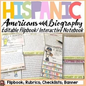 HISPANIC HERITAGE MONTH {BIOGRAPHY RESEARCH FLIPBOOK, QR CODES, RUBRIC, BANNER}