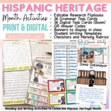 HISPANIC HERITAGE MONTH BUNDLE BIOGRAPHY, FACT CARDS, QR CODES, TASK CARDS