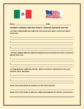 HISPANIC HERITAGE MONTH:  CELEBRATE MEXICAN- AMERICANS!