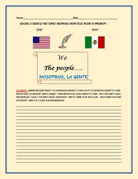 HISPANIC HERITAGE MONTH: COMPARE THE CONSTITUTIONS OF USA & MEXICO