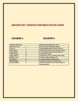 HISPANIC HERITAGE MONTH: FAMOUS HISPANICS MATCH GAME: A CHALLENGE!