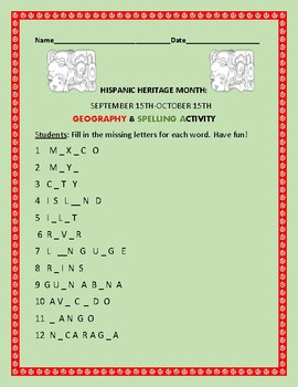 HISPANIC HERITAGE MONTH: GEOGRAPHY/SPELLING ACTIVITY