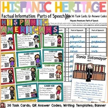 HISPANIC HERITAGE MONTH {PARTS OF SPEECH, QR CODES, STUDENT POSTERS, BANNER}