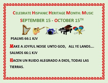 HISPANIC HERITAGE MONTH SIGN: BIBLE SCRIPTURE: CELEBRATE WITH MUSIC