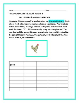 HISPANIC HERITAGE MONTH: VOCABULARY TREASURE HUNT: LETTER P