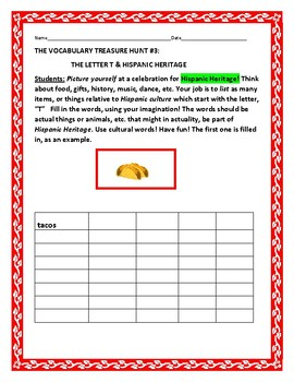 HISPANIC HERITAGE MONTH: VOCABULARY TREASURE HUNT: THE LETTER T