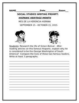 HISPANIC HERITAGE  MONTH WRITING PROMPT: GRADES 4-12