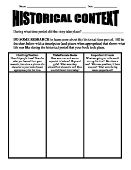 HISTORICAL FICTION book report - upper elementary