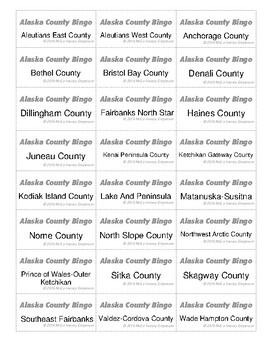 HISTORY Alaska County Bingo