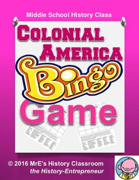 HISTORY  Colonial America BINGO game