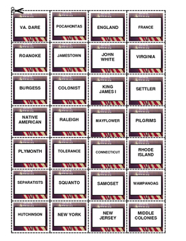 HISTORY  Colonial American Bingo
