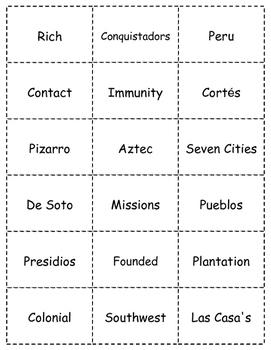 HISTORY  Exploring The Americas BINGO game