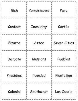 HISTORY  Exploring The Americas BINGO game