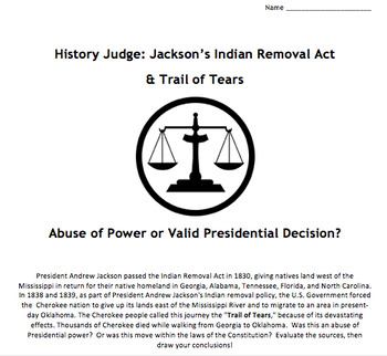 HISTORY JUDGE:  Jackson & Trail of Tears Primary Source Analysis