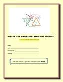 HISTORY OF MATH PROJECT: EUCLID-  Grades 4-7, MG