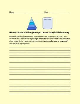 HISTORY OF MATH WRITING PROMPT: DEMOCRITUS