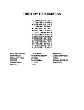 HISTORY OF NUMBERS WORD SEARCH