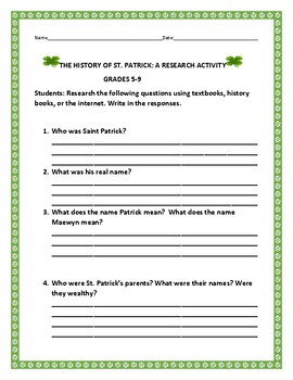 HISTORY OF ST. PATRICK- A RESEARCH ACTIVITY: GRADES 5-9