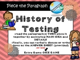 HISTORY OF TESTS -MAIN IDEA  passage  (TEST PREP) -SBACC PARCC STARR