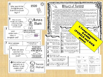 HISTORY OF TESTS -MAIN IDEA  passage  (TEST PREP) -SBACC PARCC STARR