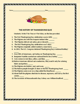 HISTORY OF THANKSGIVING QUIZ