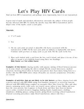 HIV (AIDS) Card Game Lesson Plan