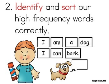 High Frequency Sight Words Objectives, Family Letter and Word Cards