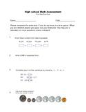 High School Math Assessment