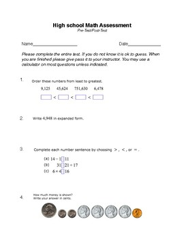HIgh School Math Pretest