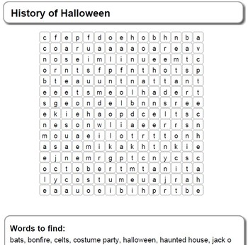 History of Halloween Word Search