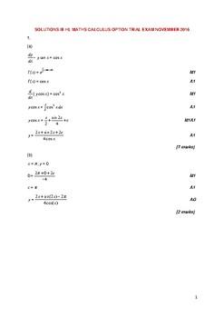 HL Mathematics Calculus Option Trial Exam