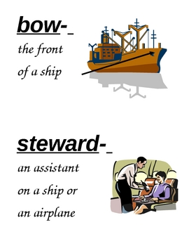 HM Finding the Titanic Vocabulary Cards