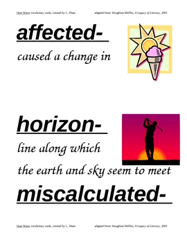 HM Heat Wave Vocabulary Cards