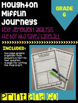"""HM Journey's Grade """"The Boy Who Saved Baseball"""" Text Dependent Analysis"""