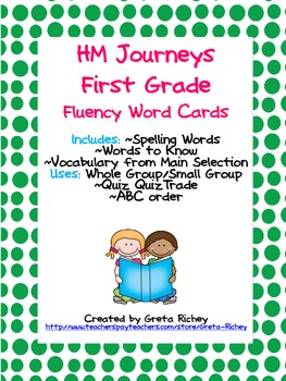 HM Journeys First Grade Fluency Word Cards