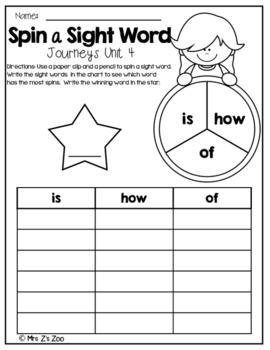 HM Journeys Sight Word Practice Kindergarten Unit 4. Spin a Sight Word