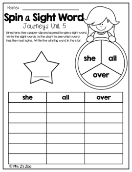 HM Journeys Sight Word Practice Kindergarten Unit 5. Spin a Sight Word