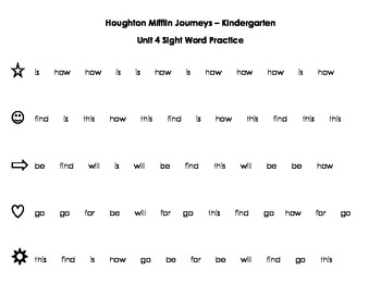 HM Journeys Sight Word Practice - Unit 4, 5, 6
