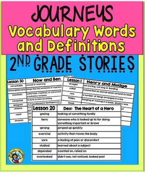 Journeys - Vocabulary Words and Definitions Grade 2