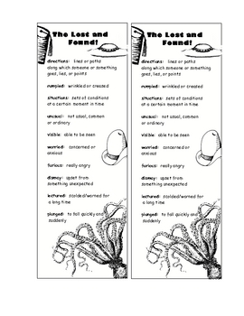 HM Lost and Found Vocabulary Bookmark