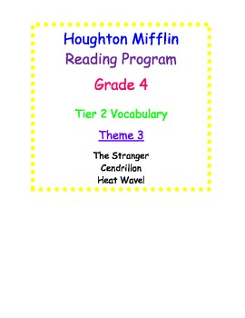 HM Reading Series Worksheets, Tier 2 Vocabulary, 4th Grade, Theme 3