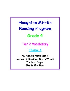 HM Reading Series Worksheets, Tier 2 Vocabulary, 4th Grade, Theme 4