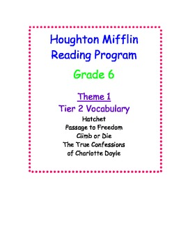 HM Reading Series Worksheets Tier 2 Vocabulary, 6th Grade Theme 1