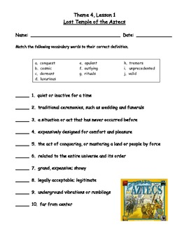 HM Reading Series Worksheets, Tier 2 Vocabulary, 6th Grade, Theme 4